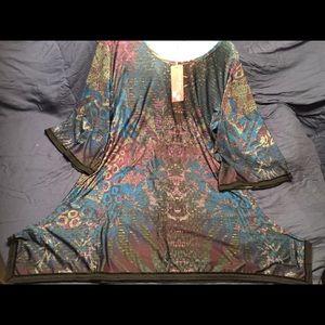 Multicolored Handkerchief Hem Tunic